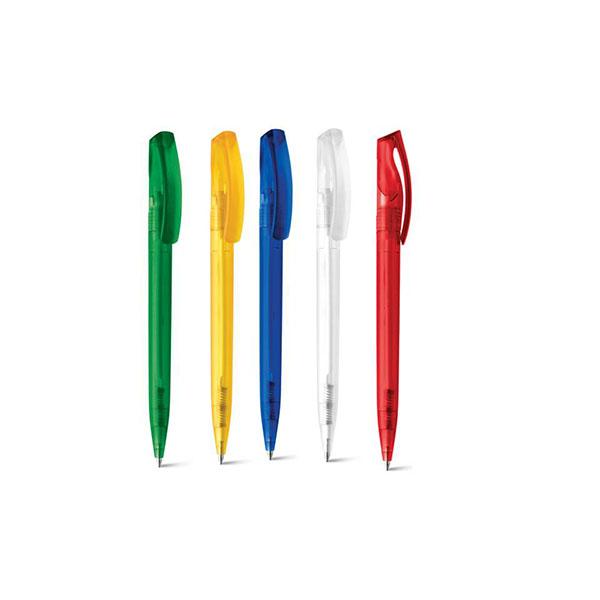 Caneta esferográfica plástica com acabamento frost peças nas cores azul, vermelho, verde e amarelo