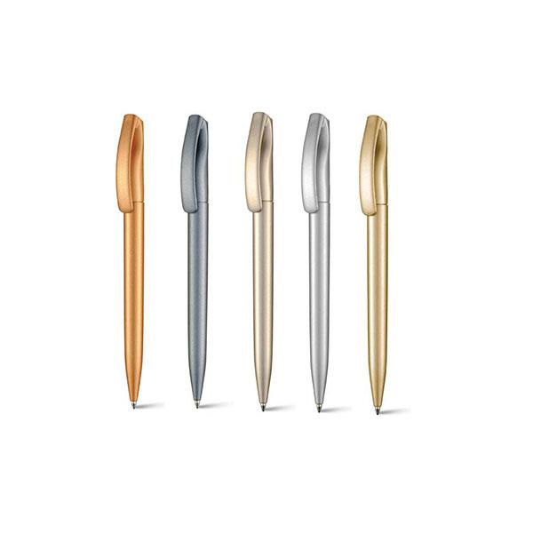 Caneta esferográfica plástica com acabamento metalizado peças nas cores grafite, bronze, dourado e prata