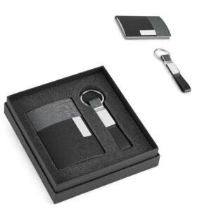 Kit de porta cartões e chaveiro em sintético preto e metal – OE018