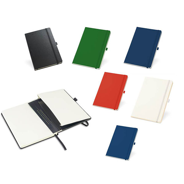 Bloco de anotações sem pauta com capa dura e porta caneta