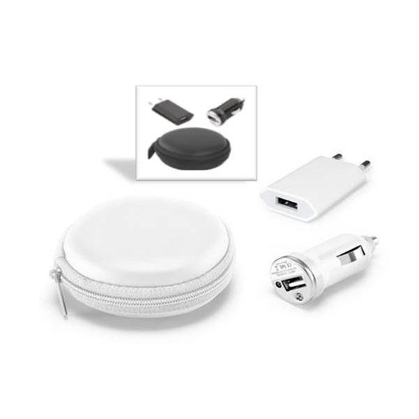 Kit carregador veicular e de tomada USB na cor branca