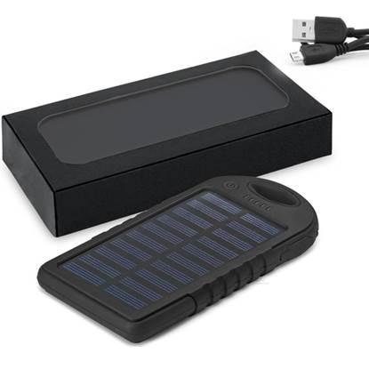 Bateria portátil solar em ABS  com painel solar e LED – TC016