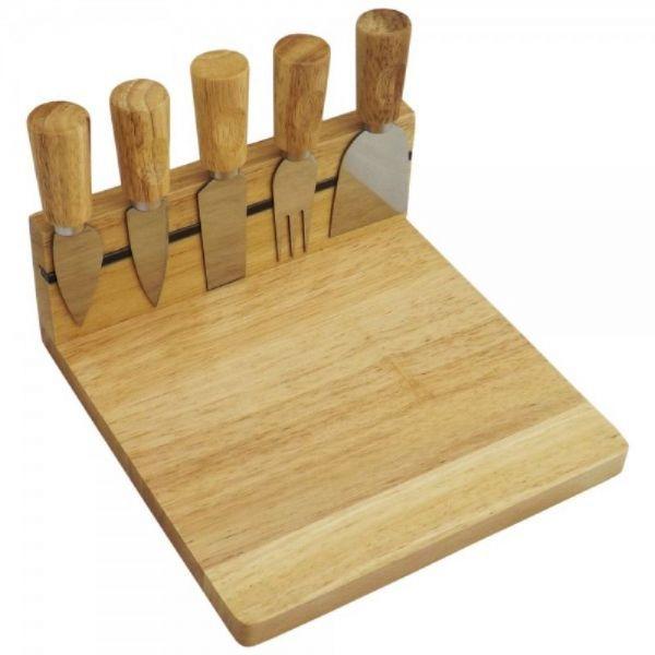 Kit queijo 5 peças com base de madeira – GA011