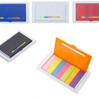 Porta post-it de plástico com régua e post-its coloridos