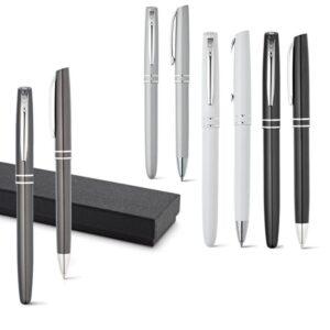 Conjunto de caneta roller e esferográfica de alumínio. Em estojo almofadado. Peça na cor preta.