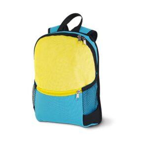 Mochila 600D. Bolso frontal com zipper e bolsos laterais com tela. Peça na cor azul claro.