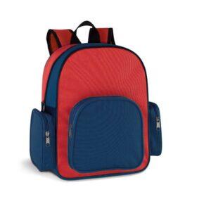 Mochila 600D. Bolso frontal com  e bolsos laterais com zipper. Peça na cor vermelha.