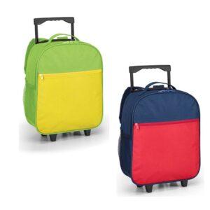 Mochila trolley. 600D de alta densidade. Com 2 rodas. Bolso frontal com zipper e bolsos laterais com tela. Pega extensível (altura da pega estendida: 320 mm). Peças nas cores azul ou verde claro.