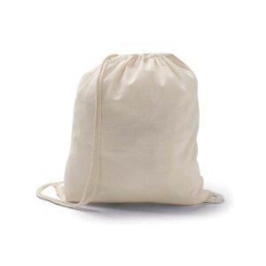 Mochila saco de algodão. Peça na cor natural.