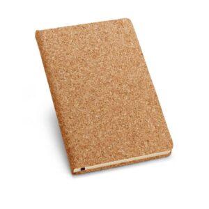 Bloco de anotações em cortiça. Com porta esferográfica e 80 folhas  não pautadas cor marfim.