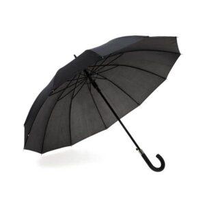 Guarda-chuva de 12 varetas em poliéster 190T. Pega resvestida em borracha