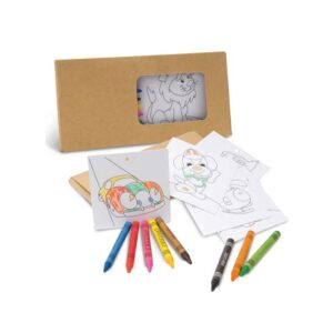 Kit para pintar incluso 8 gizes de cera e 8 cartões para pintar e pendurar.