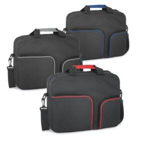 Pasta multifunções. 600D. Com bolsos frontais com zipper e alça de ombro. Peças nas cores vermelha