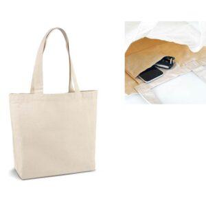 Sacola de algodão canvas: 280 g/m². Com bolso interior e alças de 65 cm. Peça na cor natural.