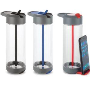 Squeeze plástico Tritan. Com suporte para celular
