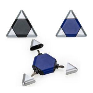Kit ferramenta triangular plástico com 3 peças. Com duas chaves philips de tamanhos diferentes e uma chave de fenda. Peças nas cores preta ou azul.