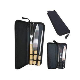 kit churrasco com 3 peças em estojo preto