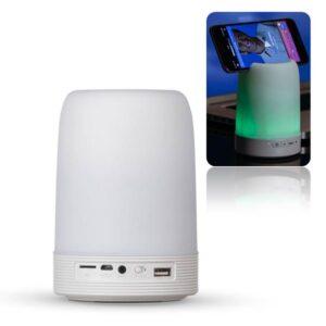 Caixa de som com porta caneta, suporte de celular e luminária
