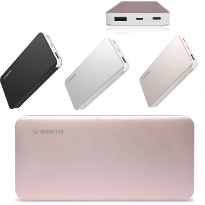 Power bank metálico com saída Type-C. Capacidade 3.7V/10000mAh. Compatível com diversos dispositivos portáteis. Nas cores rosa