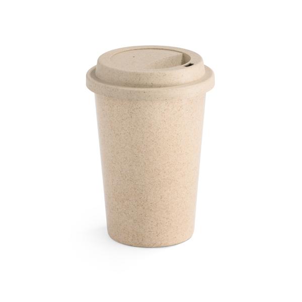 Copo para viagem em fibra de bambu e PP. Com tampa. Capacidade: 450 ml. Peça na cor natural.