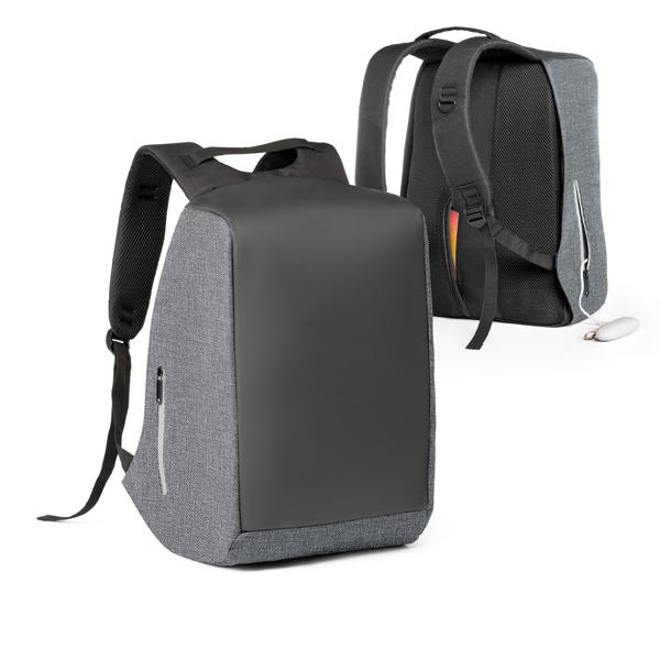 Mochila para notebook em 900D de alta densidade e tarpaulin. Sistema anti-roubo: compartimento principal com zíper oculto e parte posterior com 2 bolsos ocultos com zíper
