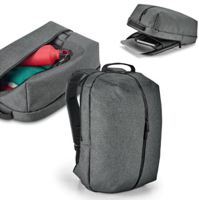 Mochila para notebook em 600D de alta densidade. Com 2 compartimentos. Compartimento posterior forrado