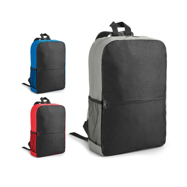 Mochila para notebook em 600D. Compartimento com divisória almofadada para notebook até 15.6''. Bolso lateral em tela e bolso frontal. Parte posterior e alças almofadadas. Peças nas cores vermelho
