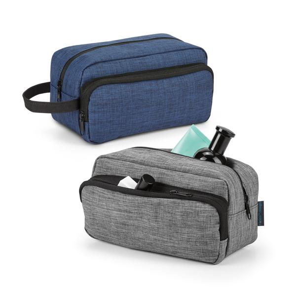 Nécessaire em 300D de alta densidade. Com pega e bolso frontal. Interior forrado. Peças nas cores azul mesclado ou cinza mesclado.
