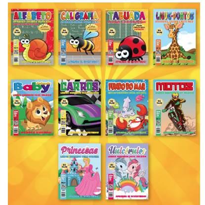Revista para colorir A4 com 12 paginas folhas brancas. Temas variados.