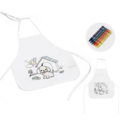 Avental infantil para colorir Non-woven 80 g/m². Com desenho impresso